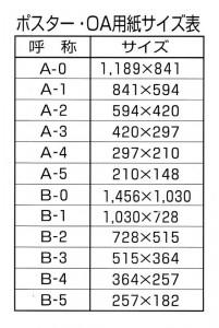ポスター・OA用紙サイズ表